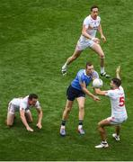27 August 2017; Dean Rock of Dublin in action against Tyrone players, left to right, Aidan McCrory, Colm Cavanagh, and Tiernan McCann during the GAA Football All-Ireland Senior Championship Semi-Final match between Dublin and Tyrone at Croke Park in Dublin. Photo by Daire Brennan/Sportsfile