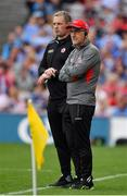27 August 2017; Tyrone manager Mickey Harte, right, and selector Gavin Devlin watch the closing stages of the GAA Football All-Ireland Senior Championship Semi-Final match between Dublin and Tyrone at Croke Park in Dublin. Photo by Brendan Moran/Sportsfile