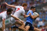 27 August 2017; James McCarthy of Dublin in action against Peter Harte and Ronan McNamee of Tyrone during the GAA Football All-Ireland Senior Championship Semi-Final match between Dublin and Tyrone at Croke Park in Dublin. Photo by Ray McManus/Sportsfile