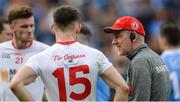 27 August 2017; Tyrone manager Mickey Harte with Matthew Donnelly after the GAA Football All-Ireland Senior Championship Semi-Final match between Dublin and Tyrone at Croke Park in Dublin. Photo by Piaras Ó Mídheach/Sportsfile