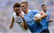 27 August 2017; Paul Mannion of Dublin in action against Pádraig Hampsey of Tyrone during the GAA Football All-Ireland Senior Championship Semi-Final match between Dublin and Tyrone at Croke Park in Dublin. Photo by Piaras Ó Mídheach/Sportsfile