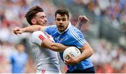 27 August 2017; Kevin McManamon of Dublin in action against Pádraig Hampsey of Tyrone during the GAA Football All-Ireland Senior Championship Semi-Final match between Dublin and Tyrone at Croke Park in Dublin. Photo by Piaras Ó Mídheach/Sportsfile