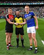 26 August 2017; Cillian O'Connor of Mayo, referee David Gough and Johnny Buckley of Kerry before the GAA Football All-Ireland Senior Championship Semi-Final Replay match between Kerry and Mayo at Croke Park in Dublin. Photo by Ray McManus/Sportsfile