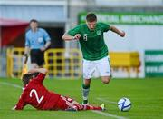28 May 2012; Jeff Hendrick, Republic of Ireland, in action against Mark Gundelach, Denmark. U21 International Friendly, Republic of Ireland v Denmark, Tallaght Stadium, Tallaght, Co. Dublin. Picture credit: Barry Cregg / SPORTSFILE