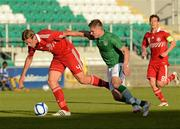 28 May 2012; Jeff Hendrick, Republic of Ireland, in action against Jannik Vestergaard, Denmark. U21 International Friendly, Republic of Ireland v Denmark, Tallaght Stadium, Tallaght, Co. Dublin. Picture credit: Barry Cregg / SPORTSFILE