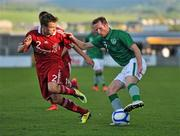 28 May 2012; Aidan White, Republic of Ireland, in action against Mark Gundelach, Denmark. U21 International Friendly, Republic of Ireland v Denmark, Tallaght Stadium, Tallaght, Co. Dublin. Picture credit: Barry Cregg / SPORTSFILE