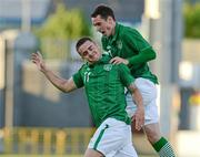 28 May 2012; Republic of Ireland's Robert Brady, left, celebrates with team-mate Greg Cunningham after scoring his side's first goal of the game. U21 International Friendly, Republic of Ireland v Denmark, Tallaght Stadium, Tallaght, Co. Dublin. Picture credit: Barry Cregg / SPORTSFILE