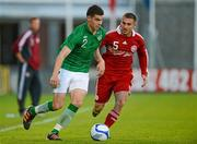 28 May 2012; John Egan, Republic of Ireland, in action against Bashkim Kadrii, Denmark. U21 International Friendly, Republic of Ireland v Denmark, Tallaght Stadium, Tallaght, Co. Dublin. Picture credit: Barry Cregg / SPORTSFILE