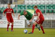 28 May 2012; Aaron McCarey, Republic of Ireland, in action against Daniel Hoegh, Denmark. U21 International Friendly, Republic of Ireland v Denmark, Tallaght Stadium, Tallaght, Co. Dublin. Picture credit: Barry Cregg / SPORTSFILE