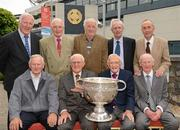 29 May 2012; Back row, from left, Mick Moylan, Jim Crowley, Jim Lavin, Cathal O'Leary and Paddy O'Flaherty, with front row, from left, Des Ferguson, Norman Allen, Kevin Heffernan, and Cyril Freaney in attendance at a Lucozade Sport / ASJI event to celebrate the victory of the Dublin Football team in the National League Final in 1953. The Croke Park Hotel, Jones's Road, Dublin. Picture credit: Ray McManus / SPORTSFILE