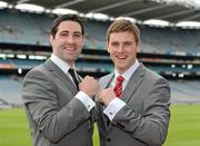 29 May 2012; Bryan Sheehan, Kerry, and Eoin Cadogan, Cork, right, in attendance at the launch by TJH Jewellery of their exclusive 'Love Your County' GAA jewellery collection. Croke Park, Dublin. Picture credit: Ray McManus / SPORTSFILE