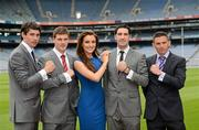 29 May 2012; Finian Hanley, Galway, left, with, from left to right, Eoin Cadogan, Cork, Bryan Sheehan, Kerry, Eamonn O'Callaghan, Kildare, and model Holly Carpenter in attendance at the launch by TJH Jewellery of their exclusive 'Love Your County' GAA jewellery collection. Croke Park, Dublin. Picture credit: Ray McManus / SPORTSFILE