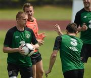 31 May 2012; Republic of Ireland's Damien Duff in action alongside team-mates Simon Cox and Keith Andrews during EURO2012 squad training ahead of their Friendly International against Hungary on Monday. Republic of Ireland EURO2012 Squad Training, Borgo A Buggiano, Montecatini, Italy. Picture credit: David Maher / SPORTSFILE