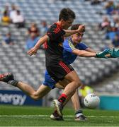 27 August 2017; Darragh Canavan of Tyrone scores a goal in the 51st minute of the All-Ireland U17 Football Championship Final match between Tyrone and Roscommon at Croke Park in Dublin. Photo by Ray McManus/Sportsfile