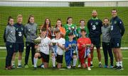 29 August 2017; Pictured at the launch of the Bank of Ireland Post Primary Competition are back row, from left, Republic of Ireland Women's International Roma McLaughlin, Republic of Ireland International Daryl Horgan, Republic of Ireland Women's International Amanda McQuillan, St. Laurence College Co. Dublin players Katie Doyle and Clara Mulligan, Mulroy College Co. Donegal players Caoimhe Walsh and Siobhan Sweeney, Republic of Ireland International David Meyler, Republic of Ireland Women's International Leanne Kiernan, and Republic of Ireland International John O'Shea. Pictured front row, left to right, Rochestown College Co. Cork players Rory Doyle, Colin O'Mahoney, and Saint Joseph's Patrician - The Bish Co. Galway players Gary Higgins and James Egan at FAI Headquarters Abbotstown, Co Dublin. Photo by Cody Glenn/Sportsfile