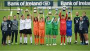 29 August 2017; Pictured at the launch of the Bank of Ireland Post Primary Competition are, from left, Republic of Ireland Women's International Roma McLaughlin, Republic of Ireland International Daryl Horgan, Republic of Ireland Women's International Amanda McQuillan, Rochestown College Co. Cork players Rory Doyle, Colin O'Mahoney, St. Laurence College Co. Dublin players Katie Doyle and Clara Mulligan, Mulroy College Co. Donegal players Caoimhe Walsh and Siobhan Sweeney, Saint Joseph's Patrician - The Bish Co. Galway players James Egan and Gary Higgins, Republic of Ireland International David Meyler, Republic of Ireland Women's International Leanne Kiernan, and Republic of Ireland International John O'Shea at FAI Headquarters Abbotstown, Co Dublin. Photo by Cody Glenn/Sportsfile