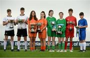 29 August 2017; Pictured at the launch of the Bank of Ireland Post Primary Competition are, from left, Rochestown College Co. Cork players Colin O'Mahoney and Rory Doyle, St. Laurence College Co. Dublin players Katie Doyle and Clara Mulligan, Mulroy College, Co. Donegal players Caoimhe Walsh and Siobhan Sweeney, and Saint Joseph's Patrician College - The Bish Co. Galway players James Egan and Gary Higgins, at FAI Headquarters Abbotstown, Co Dublin. Photo by Cody Glenn/Sportsfile