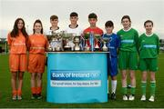 29 August 2017; Pictured at the launch of the Bank of Ireland Post Primary Competition are, from left, St. Laurence College Co. Dublin players Katie Doyle and Clara Mulligan, Rochestown College Co. Cork players Colin O'Mahoney and Rory Doyle, Saint Joseph's Patrician College - The Bish Co. Galway players James Egan and Gary Higgins, and Mulroy College, Co. Donegal players Caoimhe Walsh and Siobhan Sweeney, at FAI Headquarters Abbotstown, Co Dublin. Photo by Cody Glenn/Sportsfile
