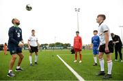 29 August 2017; Pictured at the launch of the Bank of Ireland Post Primary Competition are Republic of Ireland International David Meyler, from left, with Rochestown College Co. Cork player Rory Doyle, Saint Joseph's Patrician - The Bish Co. Galway players James Egan and Gary Higgins, Rochestown College Co. Cork player Colin O'Mahoney, at FAI Headquarters Abbotstown, Co Dublin. Photo by Cody Glenn/Sportsfile