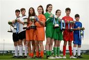 29 August 2017; Pictured at the launch of the Bank of Ireland Post Primary Competition are, from left, Rochestown College Co. Cork players Rory Doyle and Colin O'Mahoney, St. Laurence College Co. Dublin players Katie Doyle and Clara Mulligan, Mulroy College, Co. Donegal players Caoimhe Walsh and Siobhan Sweeney, and Saint Joseph's Patrician College - The Bish Co. Galway players James Egan and Gary Higgins, at FAI Headquarters Abbotstown, Co Dublin. Photo by Cody Glenn/Sportsfile