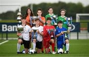 29 August 2017; Pictured at the launch of the Bank of Ireland Post Primary Competition are, back row from left, St. Laurence College Co. Dublin players Katie Doyle and Clara Mulligan, Mulroy College, Co. Donegal players Caoimhe Walsh and Siobhan Sweeney. Front row, from left, are Rochestown College Co. Cork players Rory Doyle and Colin O'Mahoney, and Saint Joseph's Patrician College - The Bish Co. Galway players James Egan and Gary Higgins, at FAI Headquarters Abbotstown, Co Dublin. Photo by Cody Glenn/Sportsfile