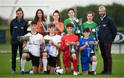 29 August 2017; Pictured at the launch of the Bank of Ireland Post Primary Competition are, back row from left, Republic of Ireland Women's International Leanne Kiernan, St. Laurence College Co. Dublin players Katie Doyle and Clara Mulligan, Mulroy College, Co. Donegal players Caoimhe Walsh and Siobhan Sweeney, and former Republic of Ireland International Stephen Hunt. Front row, from left, are Rochestown College Co. Cork players Rory Doyle and Colin O'Mahoney, and Saint Joseph's Patrician College - The Bish Co. Galway players James Egan and Gary Higgins, at FAI Headquarters Abbotstown, Co Dublin. Photo by Cody Glenn/Sportsfile