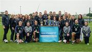 29 August 2017; Pictured at the launch of the Bank of Ireland Post Primary Competition are, members of the Bank of Ireland Youth Crew with, bottom row from left, Republic of Ireland International Daryl Horgan, Republic of Ireland Women's International Leanne Kiernan, Republic of Ireland International John O'Shea, Republic of Ireland Women's International Roma McLaughlin, Republic of Ireland International David Meyler, and Republic of Ireland Women's International Amanda McQuillan, at FAI Headquarters Abbotstown, Co Dublin. Photo by Cody Glenn/Sportsfile