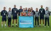 29 August 2017; Pictured at the launch of the Bank of Ireland Post Primary Competition are, from left, Republic of Ireland International Daryl Horgan, Republic of Ireland Women's International Roma McLoughlin, Republic of Ireland International John O'Shea, St. Laurence College Co. Dublin teacher John Rowe, St. Laurence College Co. Dublin player Clara Mulligan, St. Laurence College Co. Dublin coach John Mulligan, and St. Laurence College Co. Dublin player Katie Doyle, former Republic of Ireland International Stephen Hunt, Republic of Ireland Women's International Leanne Kiernan, Republic of Ireland International David Meyler, and Republic of Ireland Women's International Amanda McQuillan, at FAI Headquarters Abbotstown, Co Dublin. Photo by Cody Glenn/Sportsfile
