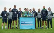 29 August 2017; Pictured at the launch of the Bank of Ireland Post Primary Competition are, from left, Republic of Ireland International Daryl Horgan, Republic of Ireland Women's International Roma McLoughlin, Republic of Ireland International John O'Shea, Mulroy College Co. Donegal teacher Aisling Crawford, Mulroy College Co. Donegal player Caoimhe Walsh, Mulroy College Co. Donegal teacher Maria Carr, Mulroy College Co. Donegal player Siobhan Sweeney, former Republic of Ireland International Stephen Hunt, Republic of Ireland Women's International Leanne Kiernan, Republic of Ireland International David Meyler, and Republic of Ireland Women's International Amanda McQuillan, at FAI Headquarters Abbotstown, Co Dublin. Photo by Cody Glenn/Sportsfile