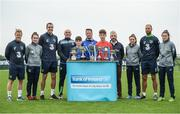 29 August 2017; Pictured at the launch of the Bank of Ireland Post Primary Competition are, from left, Republic of Ireland International Daryl Horgan, Republic of Ireland Women's International Roma McLoughlin, Republic of Ireland International John O'Shea, Saint Joseph's Patrician College - The Bish Co. Galway teacher Coley Kelly, Saint Joseph's Patrician College - The Bish Co. Galway player Gary Higgins, Saint Joseph's Patrician College - The Bish Co. Galway coach Rob Grealish, Saint Joseph's Patrician College - The Bish Co. Galway player James Egan, former Republic of Ireland International Stephen Hunt, Republic of Ireland Women's International Leanne Kiernan, Republic of Ireland International David Meyler, and Republic of Ireland Women's International Amanda McQuillan, at FAI Headquarters Abbotstown, Co Dublin. Photo by Cody Glenn/Sportsfile