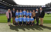 27 August 2017; President of the Ladies Gaelic Football Association Maire Hickey, President of Cumann na mBunscoil Liam McGee, Uachtarán Chumann Lúthchleas Gael Aogán Ó Fearghaíl, President of the INTO John Boyle, with the Dublin team, back row, left to right, James Maguire of Tallanstown NS, Co Louth, Jack Aylmer of Gaelscoil Osraí, Co Kilkenny, Domhnaill Rogers of St. Brigids NS, Co Dublin, Conor Sheerin of Milltown NS, Co Kildare, Ronan Flynn of St. Cynoc's NS, Co Offaly, Referee Darragh Boyle of St Brigid's NS, Co Cavan, front row, left to right, Callum Clarke of St Coens NS, Co Wicklow, Brandon of Cassidy Bishop Foley NS, Co Carlow, PJ Larkin of The Heath NS, Co Laois, Brandon of Cassidy Bishop Foley NS, Co Carlow, Dan Twomey of Scoil San Treasa, Co Dublin, ahead of the GAA Football All-Ireland Senior Championship Semi-Final match between Dublin and Tyrone at Croke Park in Dublin. Photo by Daire Brennan/Sportsfile