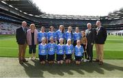 27 August 2017; President of Cumann na mBunscoil Liam McGee, President of the Ladies Gaelic Football Association Maire Hickey, Uachtarán Chumann Lúthchleas Gael Aogán Ó Fearghaíl, President of the INTO John Boyle, with the Dublin team, back row, left to right, Molly Keating of Yellow Furze NS, Co Meath, Aoife Lucey of Clondrohid NS, Co Cork, Geri-Mae-Murphy Mara of St. Patrick's NS, Co Carlow, Alison Corrigan of Ballyforan NS, Co Roscommon, Wiktoria Gorczyca of Queen of the Universe, Co Carlow, Referee Hannah Morris of Dernakesh NS, Co Cavan, front row, left to right, Meabh Fee of St. Oliver Plunkett NS Co Louth, Tara Brady of Rush NS, Co Dublin, Orlaith Craven of Ardnagrath NS, Co Westmeath, Scarlett O'Connor of St. Colamban's PS, Co Fermanagh, Maggie Donaghy of Loreto PS, Co Dublin, ahead of the GAA Football All-Ireland Senior Championship Semi-Final match between Dublin and Tyrone at Croke Park in Dublin. Photo by Daire Brennan/Sportsfile