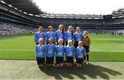 27 August 2017; The Dublin team, back row, left to right, Molly Keating of Yellow Furze NS, Co Meath, Aoife Lucey of Clondrohid NS, Co Cork, Geri-Mae-Murphy Mara of St. Patrick's NS, Co Carlow, Alison Corrigan of Ballyforan NS, Co Roscommon, Wiktoria Gorczyca of Queen of the Universe, Co Carlow, Referee Hannah Morris of Dernakesh NS, Co Cavan, front row, left to right, Meabh Fee of St. Oliver Plunkett NS Co Louth, Tara Brady of Rush NS, Co Dublin, Orlaith Craven of Ardnagrath NS, Co Westmeath, Scarlett O'Connor of St. Colamban's PS, Co Fermanagh, Maggie Donaghy of Loreto PS, Co Dublin, ahead of the GAA Football All-Ireland Senior Championship Semi-Final match between Dublin and Tyrone at Croke Park in Dublin. Photo by Daire Brennan/Sportsfile