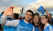 30 August 2017; Dublin footballer Bernard Brogan with Ugne Byrne, left, and Ellen Barry, from Malahide, during a meet and greet with supporters at Parnell Park in Dublin. Photo by Piaras Ó Mídheach/Sportsfile