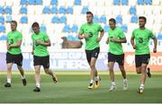 1 September 2017; Republic of Ireland players, from left, Daryl Horgan, Jonathan Hayes, Kevin Long, Aiden McGeady and Shane Long during squad training at Boris Paichadze Dinamo Arena in Tbilisi, Georgia. Photo by David Maher/Sportsfile