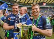 19 May 2012; Leinster's Mike Ross and son Kevin with team-mate Gordon D'Arcy following their victory. Heineken Cup Final, Leinster v Ulster, Twickenham Stadium, Twickenham, England. Picture credit: Stephen McCarthy / SPORTSFILE