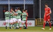1 September 2017; Shamrock Rovers players celebrate after Ronan Finn, third from left, scored their first goal during the SSE Airtricity League Premier Division match between Shamrock Rovers and Cork City at Tallaght Stadium in Tallaght, Dublin. Photo by Stephen McCarthy/Sportsfile