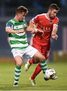 1 September 2017; Ronan Finn of Shamrock Rovers in action against Gearóid Morrissey of Cork City during the SSE Airtricity League Premier Division match between Shamrock Rovers and Cork City at Tallaght Stadium in Tallaght, Dublin. Photo by Stephen McCarthy/Sportsfile