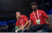 1 September 2017; USA boxing coach Billy Walsh, centre, at the AIBA World Boxing Championships in Hamburg, Germany. Photo by AIBA via Sportsfile