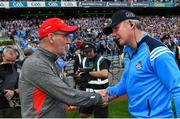 27 August 2017; Tyrone manager Mickey Harte shakes hands with Dublin manager Jim Gavin following the GAA Football All-Ireland Senior Championship Semi-Final match between Dublin and Tyrone at Croke Park in Dublin. Photo by Ramsey Cardy/Sportsfile