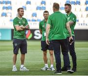 2 September 2017; of Republic of Ireland players from left, Aiden McGeady, Wes Hoolahan, Rob Elliott and Daryl Murphy before the FIFA World Cup Qualifier Group D match between Georgia and Republic of Ireland at Boris Paichadze Dinamo Arena in Tbilisi, Georgia. Photo by David Maher/Sportsfile