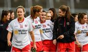 2 September 2017;  Tyrone players, including Shannon Quinn Cunningham, centre left, and Aine Canavan, centre right, celebrate following the TG4 Ladies Football All-Ireland Intermediate Championship Semi-Final match between Sligo and Tyrone at Kingspan Breffni in Cavan. Photo by Sam Barnes/Sportsfile