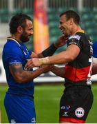2 September 2017; Isa Nacewa of Leinster and Zane Kirchner of Dragons following the Guinness PRO14 Round 1 match between Dragons and Leinster at Rodney Parade in Newport, Wales. Photo by Ramsey Cardy/Sportsfile