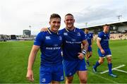 2 September 2017; Leinster's Jordan Larmour, left, and Andrew Porter following the Guinness PRO14 Round 1 match between Dragons and Leinster at Rodney Parade in Newport, Wales. Photo by Ramsey Cardy/Sportsfile