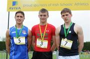 2 June 2012; Gold medal winner Marcus Lawlor, centre, from CBS Carlow, with second place Greg O'Shea, left, from Crescent College, Co. Limerick, and third place Paddy Colhoun, right, from, Methodist College, Belfast, Co. Antrim, after the Senior Boys 100m at the Aviva All Ireland Schools' Track and Field Championships 2012. Tullamore Harriers AC, Tullamore, Co. Offaly. Picture credit: Matt Browne / SPORTSFILE