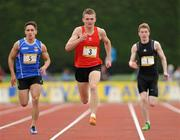 2 June 2012; Eventual winner Marcus Lawler, CBS Carlow, leads eventual second place finisher, Greg O'Shea, left, Crescent C.C, Co. Limerick, and Kieran Elliot, Grange PPS, Co. Sligo, during the Senior Boys 200m event at the Aviva All Ireland Schools' Track and Field Championships 2012. Tullamore Harriers AC, Tullamore, Co. Offaly. Picture credit: Tomas Greally / SPORTSFILE