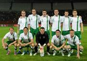 4 June 2012; The Republic of Ireland team, back row, from left, Glenn Whelan, John O'Shea, Stephen Ward, Richard Dunne and Kevin Doyle, with, front row, from left, Aiden McGeady, Keith Andrews, Shay Given, Robbie Keane and Damien Duff. Friendly International, Hungary v Republic of Ireland, Ferenc Puskás Stadium, Budapest, Hungary. Picture credit: David Maher / SPORTSFILE