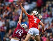 3 September 2017; Jack Canning of Galway in action against Seán O'Leary Hayes of Cork during the Electric Ireland GAA Hurling All-Ireland Minor Championship Final match between Galway and Cork at Croke Park in Dublin. Photo by Sam Barnes/Sportsfile