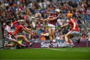 3 September 2017; Jack Canning of Galway celebrates scoring his side's second goal during the Electric Ireland GAA Hurling All-Ireland Minor Championship Final match between Galway and Cork at Croke Park in Dublin. Photo by Eóin Noonan/Sportsfile