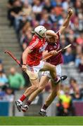 3 September 2017; Jack Canning of Galway in action against Seán O'Leary Hayes of Cork during the Electric Ireland GAA Hurling All-Ireland Minor Championship Final match between Galway and Cork at Croke Park in Dublin. Photo by Eóin Noonan/Sportsfile